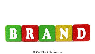 marca, -, aislado, texto, en, de madera, componentes básicos