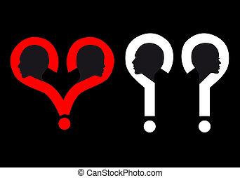 marca, cabeças, vetorial, pergunta