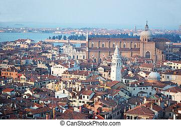 marca, campanile, c/, viejo, venecia, -, vista, italia, ...
