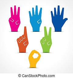 marca, cinco, número cero, manos