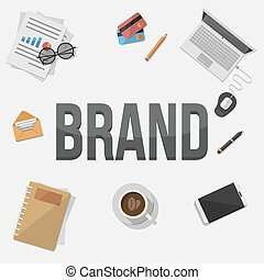 marca, concetto, illustra, uomo affari