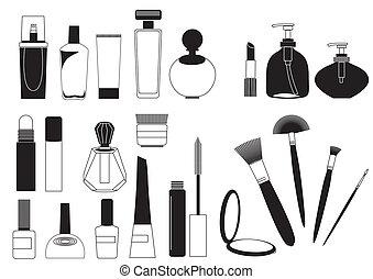 marca, cosmético, colección, arriba, productos, blanco,...
