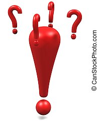 marca, exclamação, vermelho, querer saber