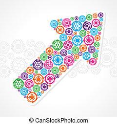 marca, grupo, engranaje, empresa / negocio, flecha