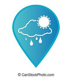 marca, icono, indicador, gps, con, silueta, lluvioso, nube, y, sol, icono
