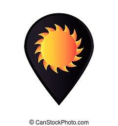 marca, icono, indicador, gps, con, sol