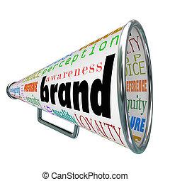 marca, megáfono, publicidad, producto, conocimiento,...