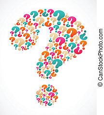 marca pergunta, com, borbulho fala, ícones