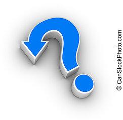 marca pergunta, com, seta
