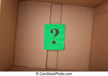 marca pergunta, interior, um, caixa papelão