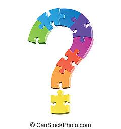 marca pergunta, quebra-cabeça
