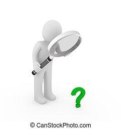 marca pergunta, vidro, verde, magnificar, 3d