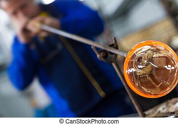 marca, recuerdo, trabajador, vidrio, el hacer a mano