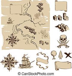 marca, su, poseer, fantasía, o, tesoro, mapas