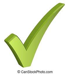 marca, verde, cheque, 3d