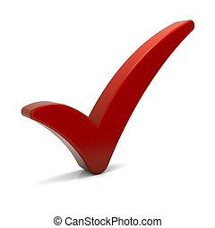 marca verificação vermelha