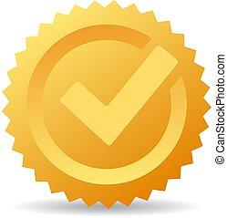 marca, vetorial, cheque, ouro, ícone