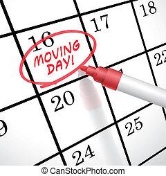marcado, día, mudanza, palabras, calendario, círculo