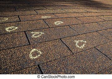 marcado, dano, telhado, granizo