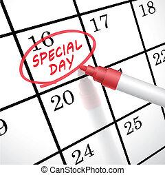 marcado, dia, palavras, calendário, círculo, especiais
