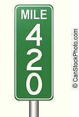 marcador, 420, milha, sinal