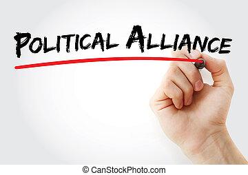 marcador, alianza, político, mano, escritura
