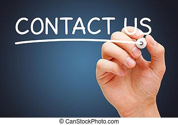 marcador, branca, contactar-nos, manuscrito