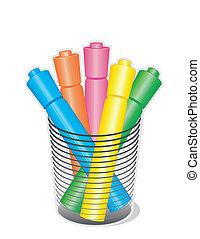 marcador, canetas, highlighter