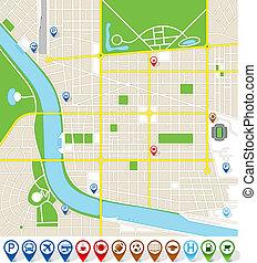 marcador, citymap, iconos