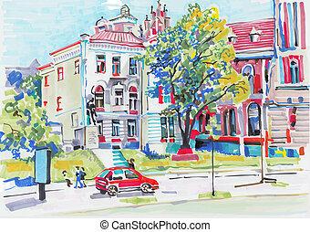 marcador, cityscape, pintura