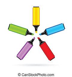marcador, coloridos