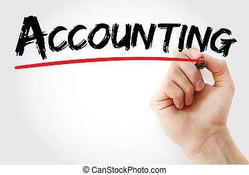 marcador, contabilidad, letra de mano
