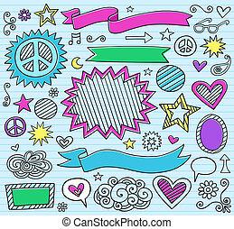 marcador, doodles, escuela, conjunto, espalda