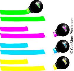 marcador, fluorescente
