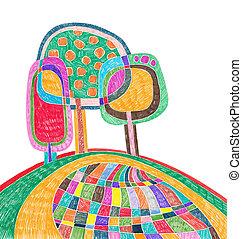 marcador, garabato, árbol, dibujo