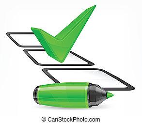 marcador, grande, verde, marca de verificación