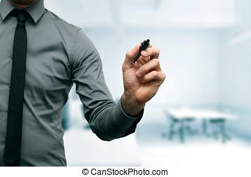 marcador, hombre de negocios, negro, oficina, mano