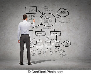 marcador, hombre de negocios, o, espalda, profesor