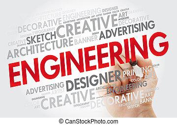 marcador, ingeniería, palabra, nube