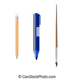 marcador, lápis, escova
