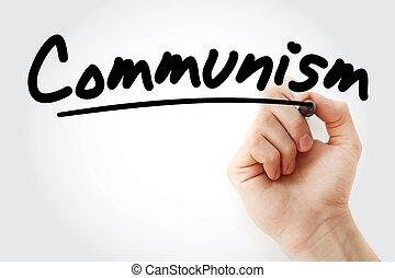 marcador, mão, comunismo, escrita