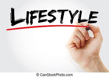 marcador, mão, estilo vida, escrita