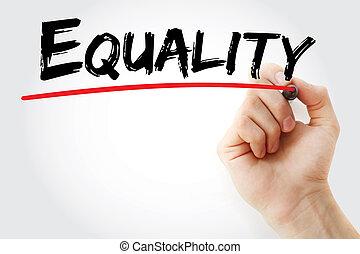 marcador, mano, igualdad, escritura
