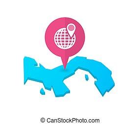 marcador, mapa, panamá, globo, mundo