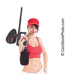 marcador, paintball, mulher segura
