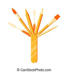 marcador, pluma, -, transatlántico, lápiz, herramientas, artista, cepillo