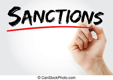 marcador, sanciones, mano, escritura