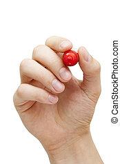 marcador, segurando, vermelho, mão