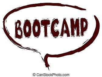 marcador, sketched, bootcamp, message., discurso, rojo, burbuja