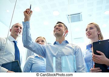 marcador, sonriente, pegatinas, empresarios
